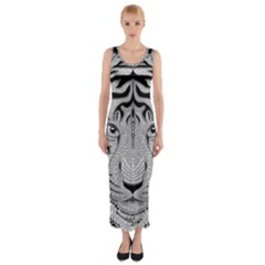 Tiger Head Fitted Maxi Dress
