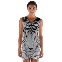 Tiger Head Wrap Front Bodycon Dress