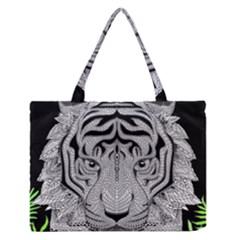Tiger Head Medium Zipper Tote Bag