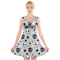 Skull Pattern V Neck Sleeveless Skater Dress