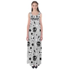 Skull Pattern Empire Waist Maxi Dress