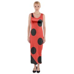 Abstract Bug Cubism Flat Insect Fitted Maxi Dress