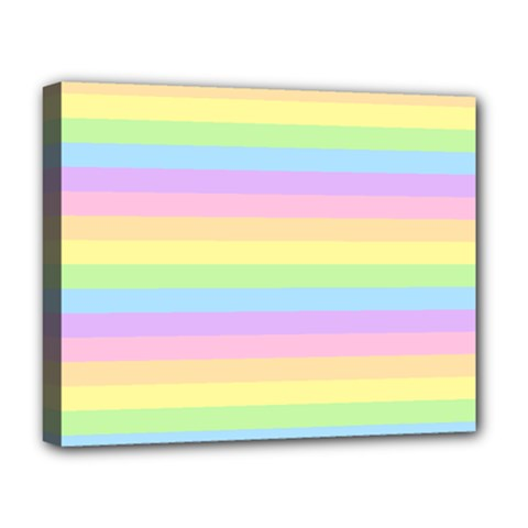 Cute Pastel Rainbow Stripes Deluxe Canvas 20  X 16