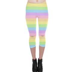Cute Pastel Rainbow Stripes Capri Leggings
