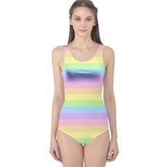 Cute Pastel Rainbow Stripes One Piece Swimsuit