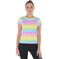 Cute Pastel Rainbow Stripes Short Sleeve Sports Top