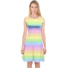 Cute Pastel Rainbow Stripes Capsleeve Midi Dress
