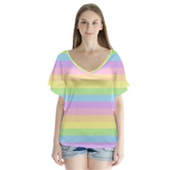 Cute Pastel Rainbow Stripes Flutter Sleeve Top