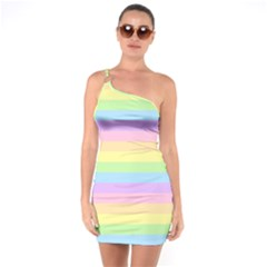 Cute Pastel Rainbow Stripes One Soulder Bodycon Dress