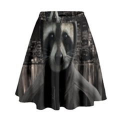Gangsta Raccoon  High Waist Skirt by Valentinaart