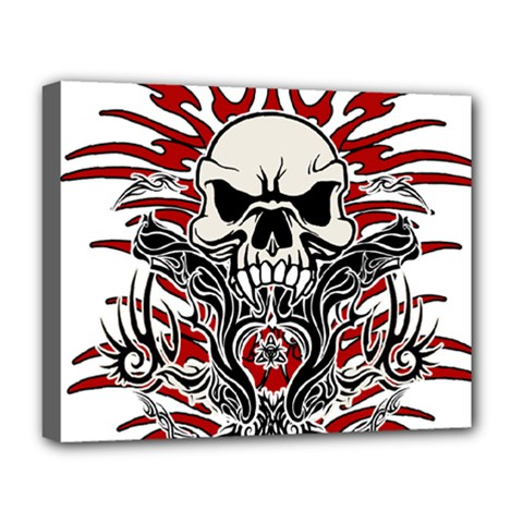 Skull Tribal Deluxe Canvas 20  X 16   by Valentinaart