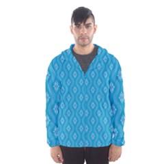 Blue Ornamental Pattern Hooded Wind Breaker (men) by TastefulDesigns