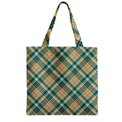 Teal Plaid 1 Zipper Grocery Tote Bag by NorthernWhimsy