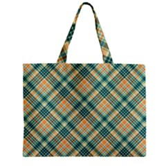 Teal Plaid 1 Zipper Mini Tote Bag by NorthernWhimsy