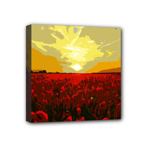 Poppy Field Mini Canvas 4  X 4  by Valentinaart