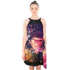 Letter From Outer Space Halter Collar Waist Tie Chiffon Dress by augustinet
