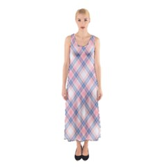 Pastel Pink And Blue Plaid Sleeveless Maxi Dress by NorthernWhimsy
