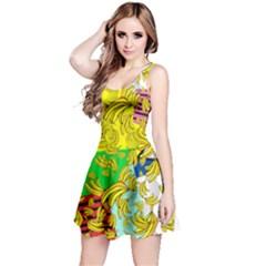 Colorful Falling Banana Pattern Reversible Sleeveless Dress
