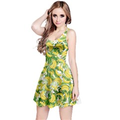 Yellow & White Banana & Leaves Pattern Reversible Sleeveless Dress