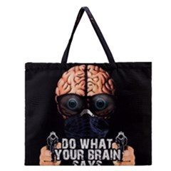 Do What Your Brain Says Zipper Large Tote Bag by Valentinaart