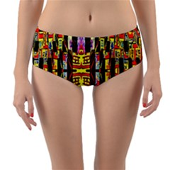 Three D Pie  Reversible Mid Waist Bikini Bottoms by MRTACPANS