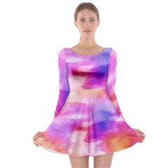 Colorful Abstract Pink And Purple Pattern Long Sleeve Skater Dress by paulaoliveiradesign