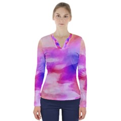 Colorful Abstract Pink And Purple Pattern V Neck Long Sleeve Top