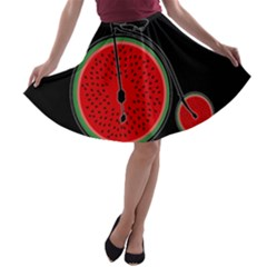Watermelon Bicycle  A Line Skater Skirt by Valentinaart