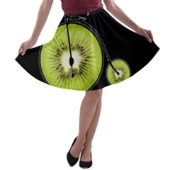 Kiwi Bicycle  A Line Skater Skirt by Valentinaart
