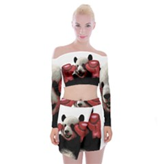 Boxing Panda  Off Shoulder Top With Skirt Set