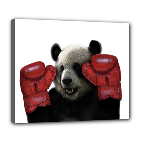 Boxing Panda  Deluxe Canvas 24  X 20   by Valentinaart