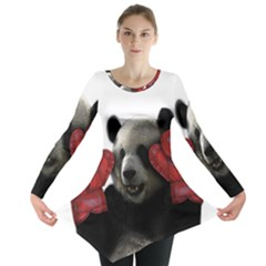 Boxing Panda  Long Sleeve Tunic  by Valentinaart