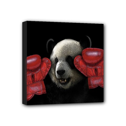 Boxing Panda  Mini Canvas 4  X 4  by Valentinaart
