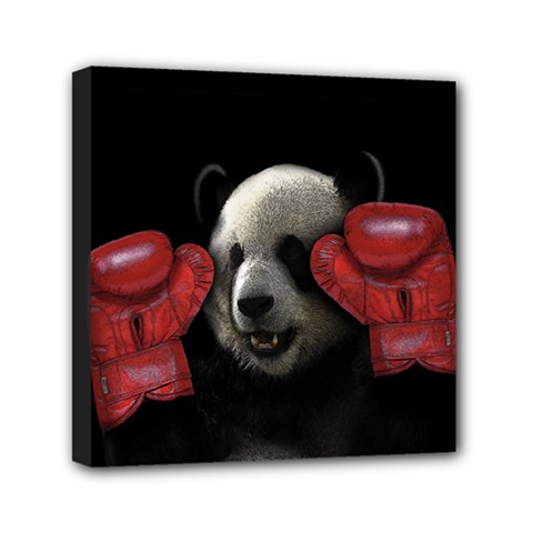 Boxing Panda  Mini Canvas 6  X 6  by Valentinaart