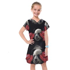 Boxing Panda  Kids  Drop Waist Dress by Valentinaart