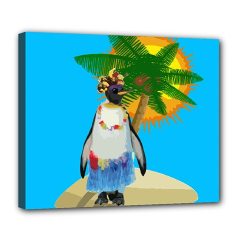 Tropical Penguin Deluxe Canvas 24  X 20   by Valentinaart