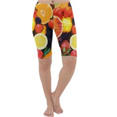 Fruits Pattern Cropped Leggings  by Valentinaart