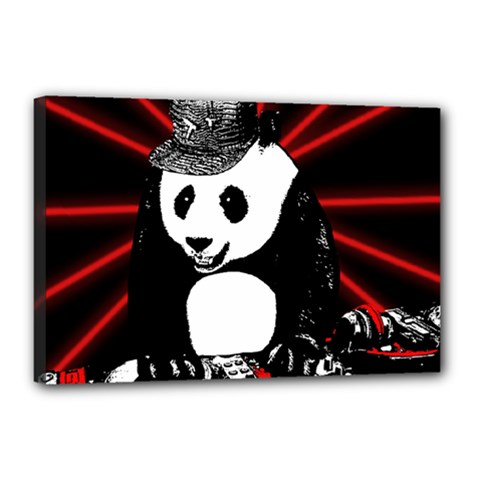 Deejay Panda Canvas 18  X 12  by Valentinaart