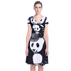 Deejay Panda Short Sleeve Front Wrap Dress by Valentinaart