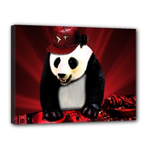 Deejay Panda Canvas 16  X 12  by Valentinaart
