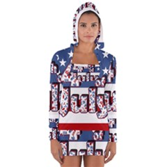 4th Of July Independence Day Long Sleeve Hooded T Shirt by Valentinaart