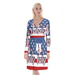 4th Of July Independence Day Long Sleeve Velvet Front Wrap Dress by Valentinaart