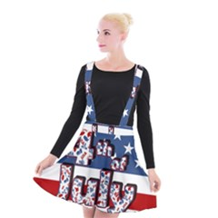 4th Of July Independence Day Suspender Skater Skirt by Valentinaart