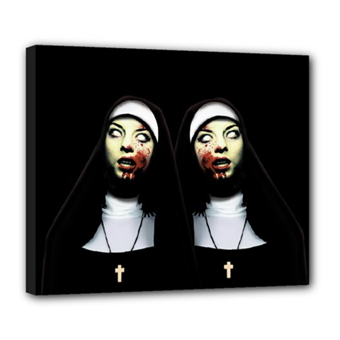 Horror Nuns Deluxe Canvas 24  X 20   by Valentinaart