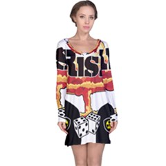 Nuclear Explosion Trump And Kim Jong Long Sleeve Nightdress by Valentinaart