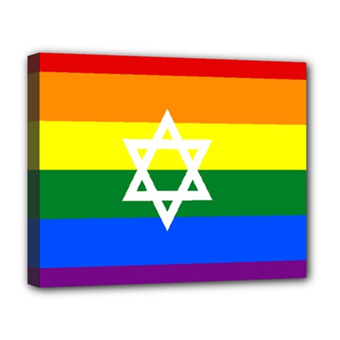 Gay Pride Israel Flag Deluxe Canvas 20  X 16   by Valentinaart