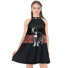 Great Dane Halter Neckline Chiffon Dress