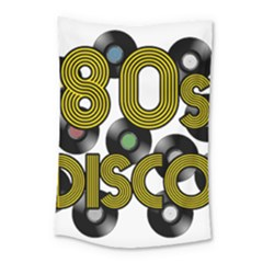 80s Disco Vinyl Records Small Tapestry by Valentinaart