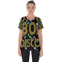 80s Disco Vinyl Records Cut Out Side Drop Tee