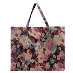 Japanese Ethnic Pattern Zipper Large Tote Bag by Onesevenart